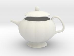 Decorative Teapot in White Natural Versatile Plastic