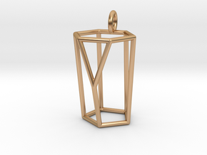 Scutoid Pendant - Version 1 (wireframe) in Polished Bronze