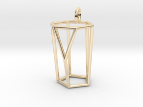 Scutoid Pendant - Version 1 (wireframe) in 14k Gold Plated Brass
