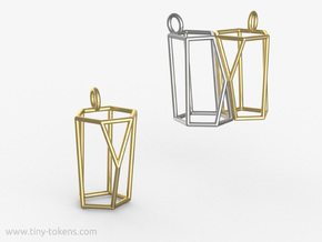 Scutoid Pendant - Version 1 (wireframe) in Polished Brass