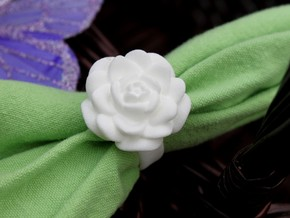 Rose Napkin Ring in White Processed Versatile Plastic