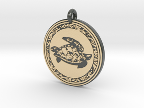 Sea Turtle Animal Totem Pendant in Glossy Full Color Sandstone
