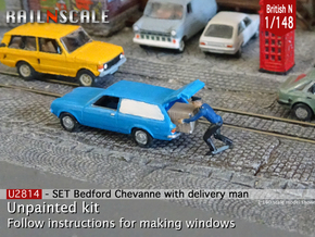 SET Bedford Chevanne w delivery man (Brit N 1:148) in Smoothest Fine Detail Plastic