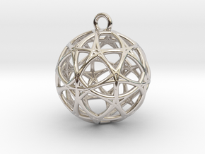 Earth 13D  Matter Alpha Pendant in Rhodium Plated Brass