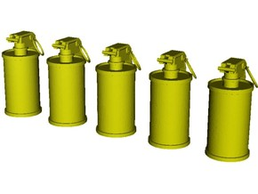 1/16 scale M-18 smoke grenades x 5 in Smooth Fine Detail Plastic