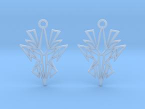 Dark symmetry earrings in Smooth Fine Detail Plastic: Small