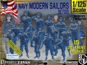 1/125 USN Modern Sailors Set001 in Smooth Fine Detail Plastic