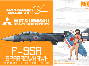F-95A Sparrowhawk Fighter in Black Natural Versatile Plastic: 6mm