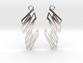 Zigzag earrings in Rhodium Plated Brass: Small