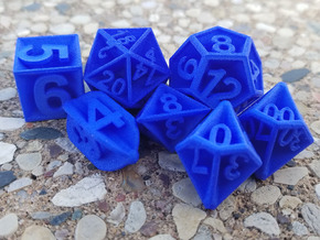 Plunged Sides Dice Set in Blue Processed Versatile Plastic