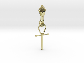 Ankh Heart Pendant in 18k Gold Plated Brass