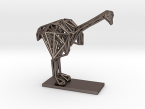 Ostrich (Young) in Polished Bronzed-Silver Steel