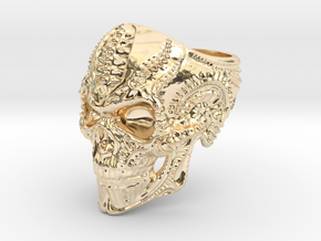 Skull Ring Personalized In Stainless Steel And Sil in 14k Gold Plated Brass