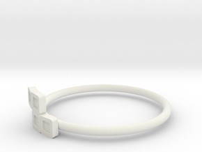 Block Puzzle Ring (Type-S2) in White Natural Versatile Plastic