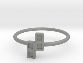 Block Puzzle Ring (Type-N) in Gray Professional Plastic