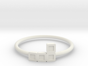 Block Puzzle Ring (Type-L2) in White Natural Versatile Plastic