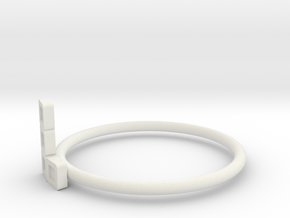 Block Puzzle Ring (Type-L3) in White Natural Versatile Plastic