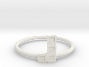 Block Puzzle Ring (Type-L4) in White Natural Versatile Plastic