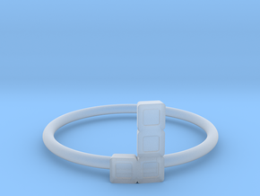 Block Puzzle Ring (Type-L4) in Smooth Fine Detail Plastic
