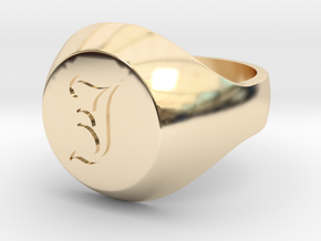 "Initial Ring ""J"" in 14k Gold Plated Brass"