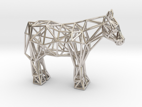 Shetland Pony in Rhodium Plated Brass