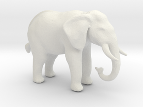 N Scale African Elephant in White Natural Versatile Plastic