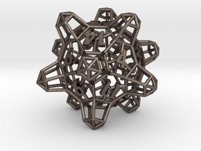 Crystal Lattice Dice, D20 - Standard gaming die in Polished Bronzed-Silver Steel