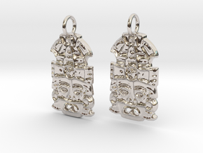 MayanMask Earrings in Rhodium Plated Brass