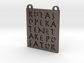Sator Square Talisman in Polished Bronzed-Silver Steel