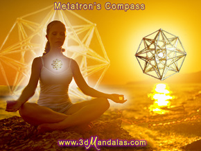 4D Vector Equilibrium Metatron's Compass 50mm -  in 18K Gold Plated