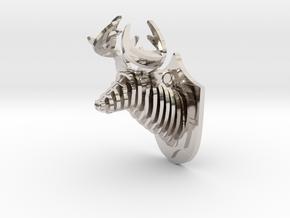 Deer head in Rhodium Plated Brass