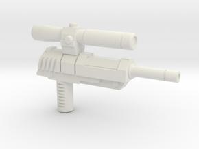 Megatron Pistol (3mm & 5mm grips) in White Natural Versatile Plastic: Large