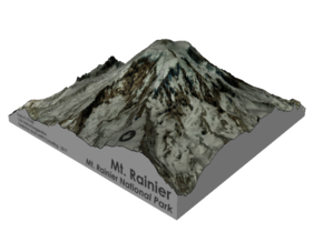"Mount Rainier Summit Map - 5"" in Matte Full Color Sandstone"