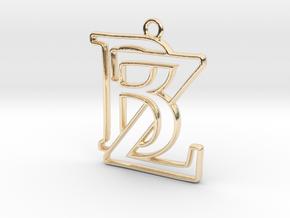 Initials B&Z monogram in 14k Gold Plated Brass
