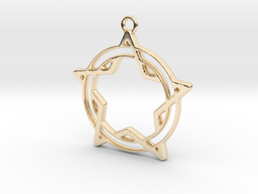 Star and circle intertwined in 14k Gold Plated Brass