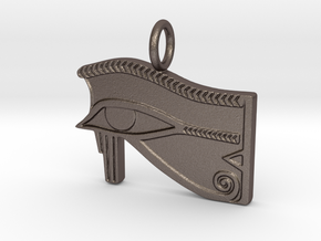 Eye of Ra/Horus amulet in Polished Bronzed-Silver Steel