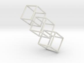 Three interlocking cubes in White Natural Versatile Plastic