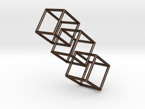 Three interlocking cubes in Polished Bronze Steel
