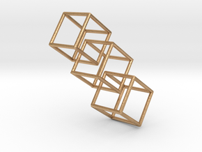 Three interlocking cubes in Natural Bronze (Interlocking Parts)
