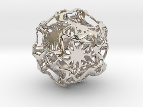 Drilled Perforated DodecahedronFlower in Platinum