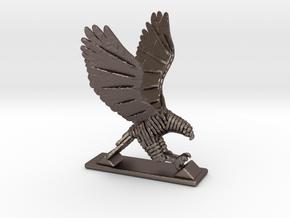 Sliced hawk Desktoy in Polished Bronzed-Silver Steel