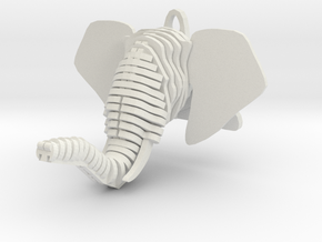Sliced Elephant head Pendant in White Natural Versatile Plastic