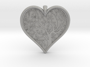 Tree of life Heart pendant in Aluminum