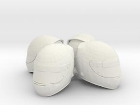 F1 Helmet 1/18 4pack in White Natural Versatile Plastic