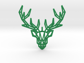 Deer Pendant in Green Processed Versatile Plastic