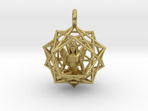 Angel Starship: Sacred Geometry Dodecahedral 27mm in Natural Brass