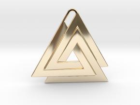 Valknut Pendant - Viking Symbol  in 14K Yellow Gold