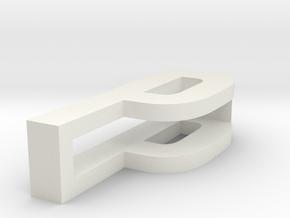 CHOKER SLIDE LETTER P 1⅛, 1¼, 1½, 1¾, 2 inch sizes in White Natural Versatile Plastic: Extra Small