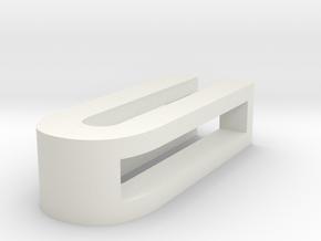 CHOKER SLIDE LETTER U 1⅛, 1¼, 1½, 1¾, 2 inch sizes in White Natural Versatile Plastic: Extra Small