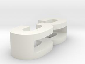 CHOKER SLIDE LETTER 3 1⅛, 1¼, 1½, 1¾, 2 inch sizes in White Natural Versatile Plastic: Extra Small
